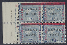 """cz012j3. Canal Zone 12 variety """"L"""" and """"Z"""" in Antique type in block of 4 with Imprint at left. Unused, OG, Very Fine. Scarce and Attractive Error and block!"""