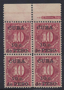 cbj4e3. Cuba 1899 10c on 10c Postage Due stamp J4 block of 4 NH Very Fine. Post Office Fresh! Outstanding block!