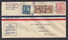 czuc01c7. Canal Zone UC1/A1 Air Mail entire first day cover Scarce & Very Fine. Attractive & Desirable cover!