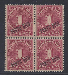 prj1e7. Puerto Rico J1a block of 4, unused 3 NH, 1 LH F-VF+. Fresh & Pleasing block!