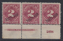 prj2g3. Puerto Rico J2(2)/J2a, bottom Plate #268 and Imprint strip of 3, unused OG F-VF. Scarce & Desirable Combo Plate strip!