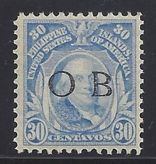"piob270a3. Philippines 30c Franklin 270 variety with Black Constabulary ""OB"" Overprint. Unused, NH, Fresh & VF-XF. Very Scarce ""Bandholtz OB"" Overprint Only 100 Issued!"