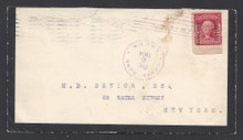cz005f1. CANAL ZONE 5 COVER, ANCON, 12-6-04, MOURNING COVER TO NEW YORK. SCARCE COMMERCIAL USAGE!