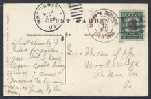 "cz022o4. Canal Zone 22 STATION ""A"" CRISTOBAL 11-13-1909 cancel on Picture Postcard to US. Very Scarce town cancel!"