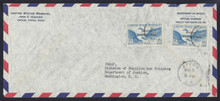 "czco03g6. Canal Zone CO3 and CO3 ""O"" over ""N"" variety tied by Ancon 5-3-44 duplexes on Air Mail Official Business penalty cover to U.S. Scarce Variety on Excellent cover!"