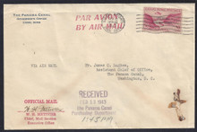 czco05g3. Canal Zone CO5 tied by Balboa Heights 2-12-43 cancel on Official Business Air Mail cover to U.S. Scarce and Interesting Official Postal History!