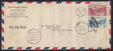 czco11g3. Canal Zone CO11 and CO3 tied by Balboa Heights 5-29-42 cancels on Censored Air Mail Official Business cover to U.S. Scarce Type I & II Combo cover!