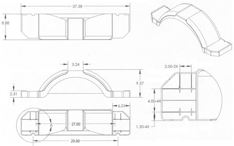 Silver Plastic Step Trailer Fender 12 Inch Tire dimensions