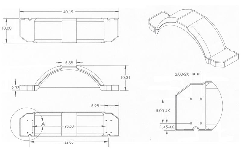 Silver Plastic Step Trailer Fender 13 Inch Tire dimensions