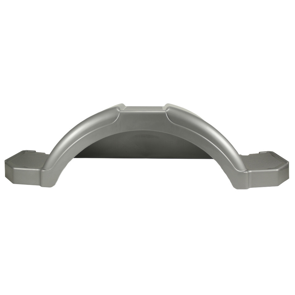 Silver Plastic Step Trailer Fender 14 Inch Tire front view