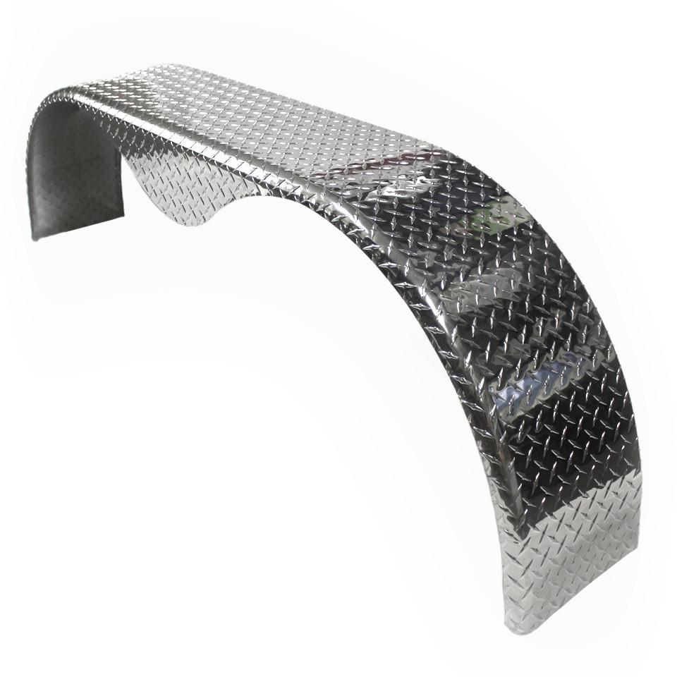 72x9 Tandem Axle Aluminum Tread Plate Trailer Fender (angle)