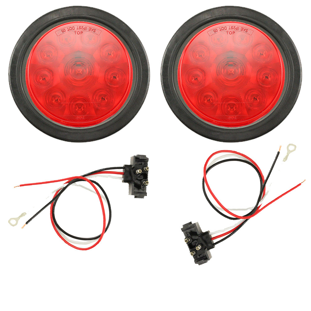 Led 4 Quot Round Red Trailer Tail Light Turn Signal Light