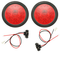 "Trailer Brake light Kit 4"" Round LED with Grommet & Wiring"