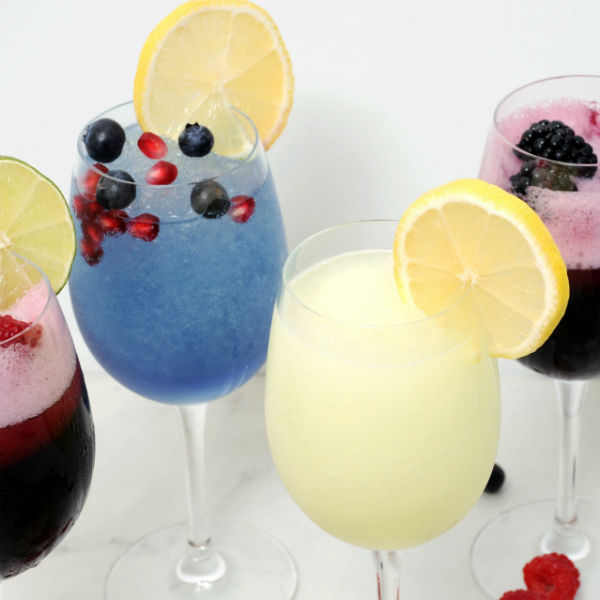 Hard Lemonade,  Blackberry-Sangria, Blueberry-Pomegranate, Sangria Wine Slushies