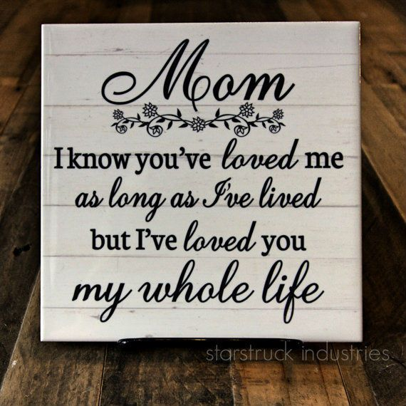 Mom Plaque - Mom I know you've loved me as long as I've lived, but I've loved you my whole life