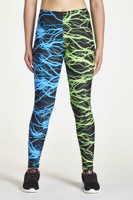 Tights Half & Half Shown in Blue Lightning & Green Lightning.