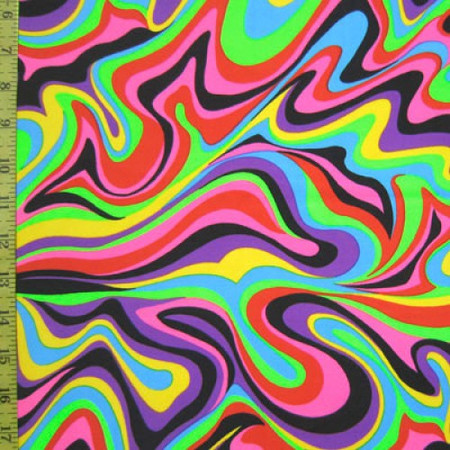 Wavy undulating lines in a rainbow of colors.