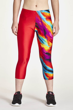 Capris shown in half red and half tie dye splash.