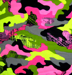 Camouflage print with hot pink, pink, grays and greens.
