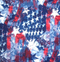 Patriot fabric with a collage of stars and stripes.