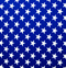 Royal blue fabric with white stars.