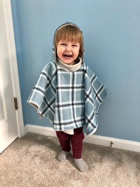 Plaid poncho with blue and black