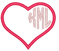 Circle Monogram Heart Applique