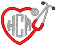Heart Stethoscope Monogram