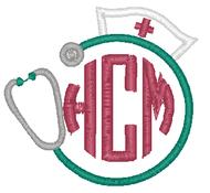 Nurse Hat and Stethoscope Monogram