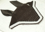 "C&C Bonnet - Chocolate ""Old Dominion"" with white and iridescent sparkle and snow trim"