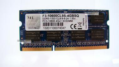 G.SKILL 4GB 204-PIN DDR3 SO-DIMM 1333 PC3-10600 LAPTOP MEMORY F3-10600CL9S-4GBSQ