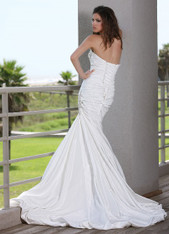 Taffeta wedding dress.