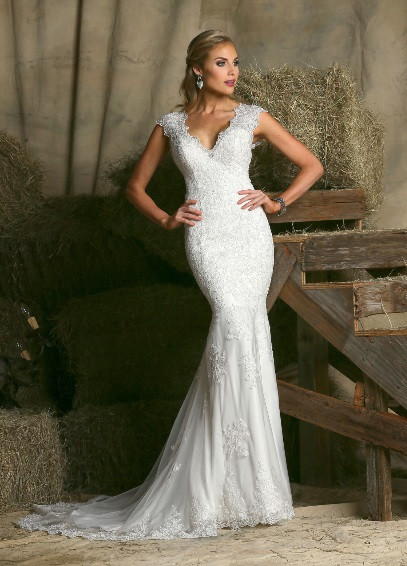 Lace wedding dress.
