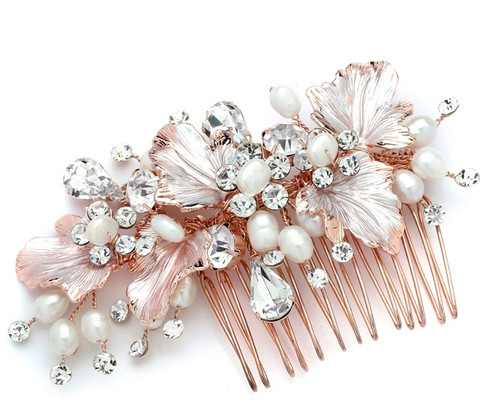 Rose gold, hair comb.
