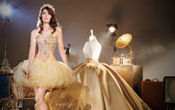 This three piece Quinceanera dress gives you the opportunity to change your look during the party.