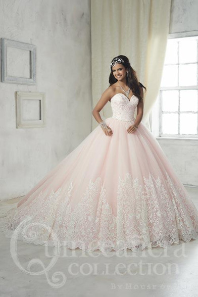 Ivory and Pink Quinceanera Dress.