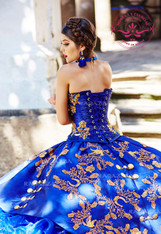 The bodice of this Quinceanera dress  can either be in gold accents or silver accents.