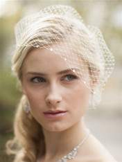 Wear Mariell's popular wholesale French Net birdcage visor veil accented with shimmering Swarovski crystals for the glamour of a Hollywood wedding.
