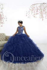 Beautiful Quinceanera dress with an illusion neckline.