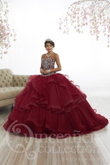 This quince dress has the perfect amount of ruffles.