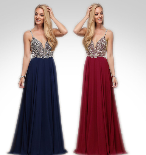 This formal gown is available in burgundy.