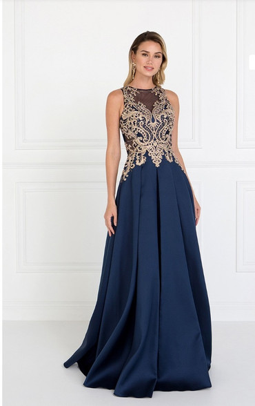 Navy and gold prom dress.