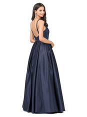A-line graduation dress in navy.
