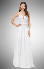 Off-white, long formal dress.