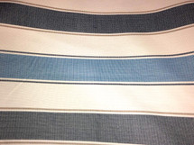 "CANVAS UPHOLSTERY FABRIC RUGBY STRIPES MEDIUM WEIGHT 56"" WIDE BLUES & OFF WHITE"
