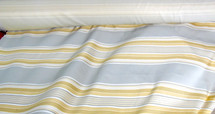 BULL DENIM STRIPES UPHOLSTERY DRAPERY FABRIC GREY AND GOLDEN SHADES