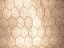EMBROIDERED HEXAGON LINEN STYLE UPHOLSTERY DRAPERY FABRIC LIGHT BEIGE