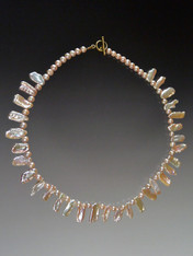 """This delicate gleaming collar is perfect for any age - truly luminous pink biwa pearls separated by tiny round pearls.  Clasp will vary but all equally beautiful. 18"""""""