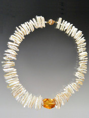 White Biwa Pearl 14K Brazilian Citrine Collar