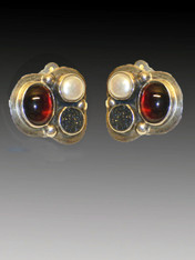 """These delightful versatile Amy Kahn Russell earrings feature a classic cluster of vibrant amethyst, black druzy and white freshwater pearl cabochons bezel set in sterling silver. Love these little gems that go anywhere. 1"""" x 3/4"""" Now clips; convert to posts for $15"""